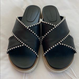 Zara Woman Black Leather Slides, Size EU41